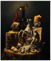Still-life with Poussin by Stephen Appleby-Barr contemporary artwork painting, works on paper