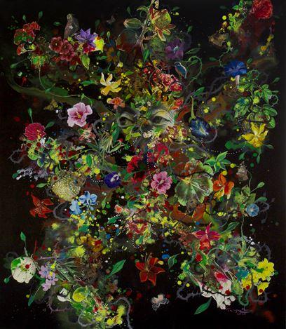 Priyantha Udagedara,Serendib 7,Mixed Media on Canvas, 101cm x 83cm. Courtesy Saskia Fernando Gallery.