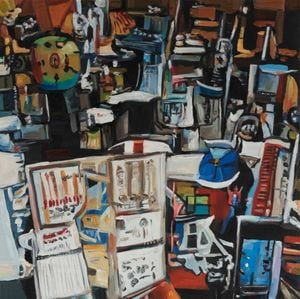 A Bunch of Items That Are on Display in a Store by Alexander Reben contemporary artwork painting, works on paper