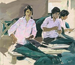 Weaving the Fishnet by Pang Tao contemporary artwork painting