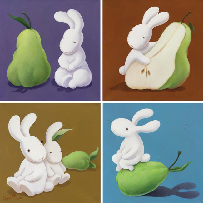 Pear variation: twins, half & half, triplets, just me and you and our shadow by Benrei Huang contemporary artwork