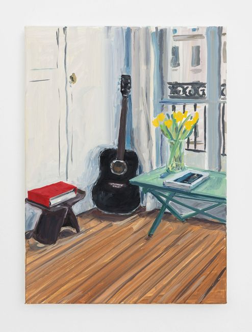 Black guitar and yellow tulips by Jean-Philippe Delhomme contemporary artwork