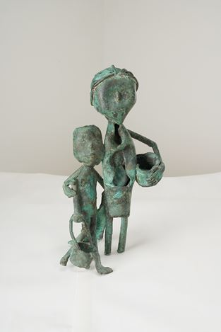 SOMNATH HORE, Mother and Child. Bronze. 32 x 13.9 x 13.9 cm /12.6 x 5.5 x 5.5 in. Courtesy Galerie Mirchandani + Steinruecke, Mumbai.