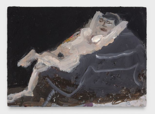 Nude on a Piano, 2021. Oil on panel, 5 x 7 in.  Courtesy Thomas Erben Gallery.