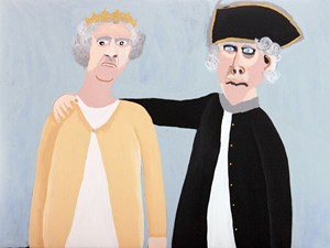 Queen Elizabeth and Captain Cook by Vincent Namatjira contemporary artwork
