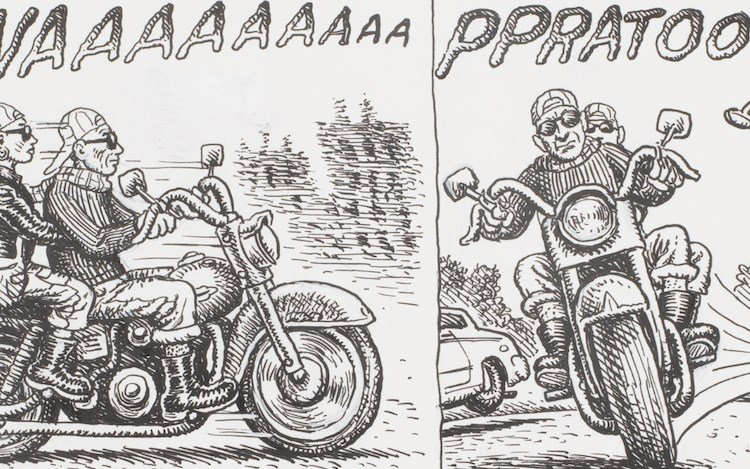 R. Crumb,Mystic Funnies #1: Omen in the Gloamin with Mr. Natural and the Gang(c. 1997) (detail). Ink and correction fluid on paper in six parts. 14 x 11 inches / 35.56 x 27.94 cm. Courtesy David Zwirner.