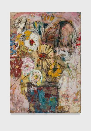 Flowers 13 (bleached pink with blue vase) by Daniel Crews-Chubb contemporary artwork