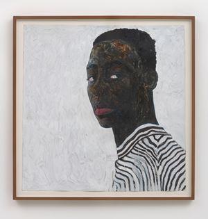 Boy in a Black and White Stripe Shirt by Amoako Boafo contemporary artwork