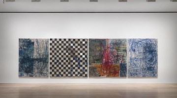 Contemporary art exhibition, Oscar Murillo, binary function at David Zwirner, London