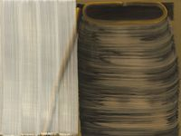 5 Brushstrokes over 1 Brushstroke (left) and 8Brushstrokes (right) #II by Hyun-Sook Song contemporary artwork painting