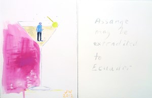 Man from the back in a cocktail glass and Assange may be extradited to Ecuador, by Jenny Watson contemporary artwork