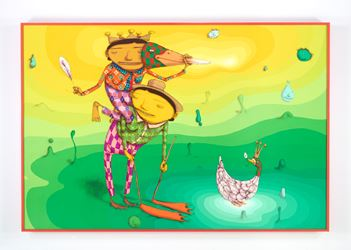 OSGEMEOS, O Pato Rei (The King Duck), 2016, mixed media on wood board, 109.84 x 74.41 x 5.51 inches (framed) 279 x 189 x 14 cm. Photo: Max Yawney Courtesy the artists and Lehmann Maupin, New York and Hong Kong.