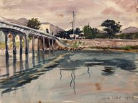 Untitled (Bridge over Twilight Waters) by Luis Chan contemporary artwork works on paper