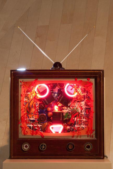 Neon TV - 22nd century Fox by Nam June Paik contemporary artwork