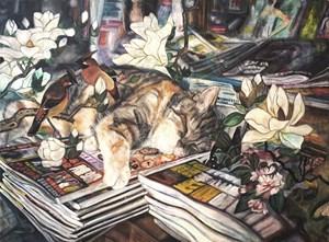 貓左 //As long as there's a bed beneath the stars that shine by Vivian Ho contemporary artwork