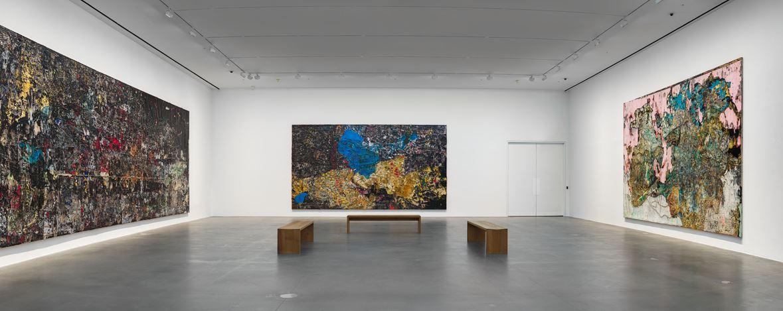 Exhibition view:Mark Bradford, Cerberus,Hauser & Wirth, London (2 October–21 December 2019).©Mark Bradford.Courtesy the artist and Hauser & Wirth. Photo: Alex Delfanne.