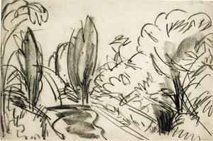 Straße mit Bäumen im Taunus by Ernst Ludwig Kirchner contemporary artwork