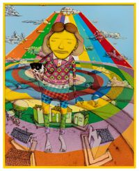Kiss me and go back there by OSGEMEOS contemporary artwork mixed media