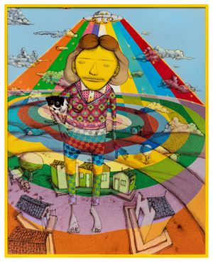 Kiss me and go back there by OSGEMEOS contemporary artwork