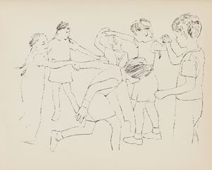 Children Playing Ring Around the Rosie (Happy December) by Andy Warhol contemporary artwork