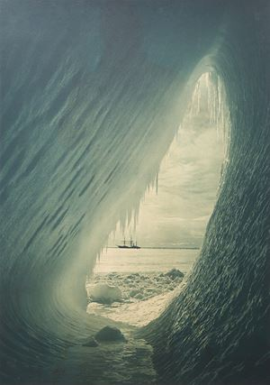 Grotto In Berg, Terra Nova In The Distance, 5 January by Herbert Ponting contemporary artwork