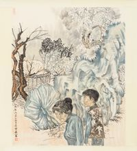 Two women by Yun-Fei Ji contemporary artwork works on paper
