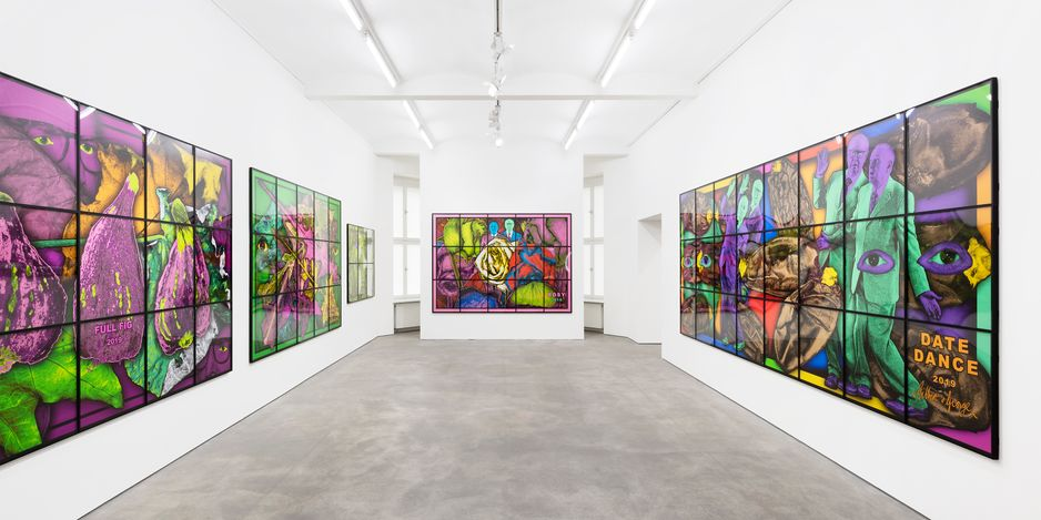 Exhibition view:Gilbert & George, THE PARADISICAL PICTURES, Sprüth Magers, Berlin (28 April–25 August 2021). © Gilbert & George. Courtesy Sprüth Magers. Photo: Ingo Kniest.