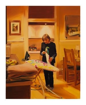 Ironing Tea Towels, Late Evening, March by Caroline Walker contemporary artwork