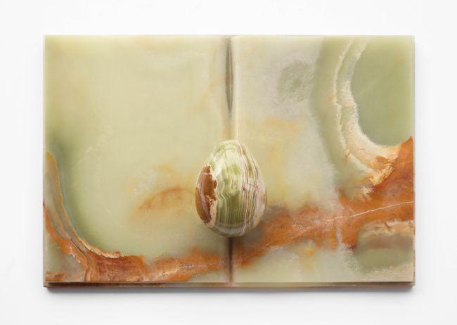 Book object in alabaster by Mirella Bentivoglio contemporary artwork