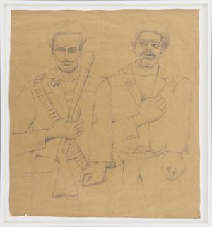 Baddest Two Dudes Alive: Huey and Bobby by Wadsworth Jarrell contemporary artwork