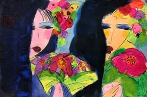 Two Oriental Girls with Flower and Hand Fan by Walasse Ting contemporary artwork