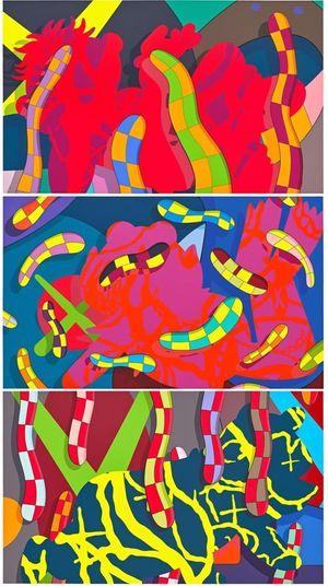 LOST TIME, ALONE AGAIN, FAR FAR DOWN by KAWS contemporary artwork