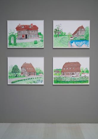 Exhibition view: David Hockney,La Grande Cour, Normandy,Pace Gallery, New York (14 September–19 October 2019). Courtesy Pace Gallery.