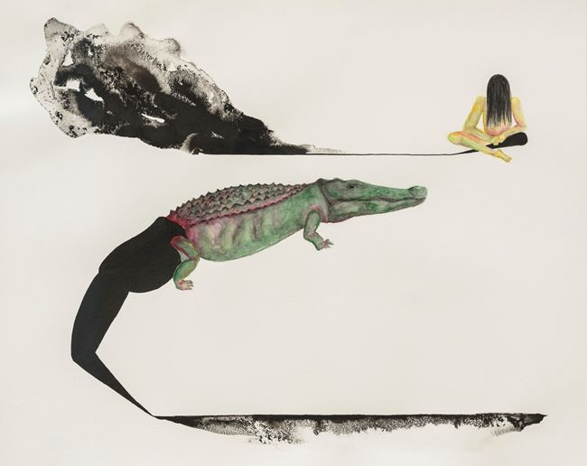 Crocodile and Girl by Grace Schwindt contemporary artwork