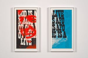 god is alive (two parts) by Corita Kent contemporary artwork print
