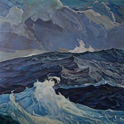 Dick Frizzell, Swell, 2017. Oil on canvas, 1600mmx1600mm