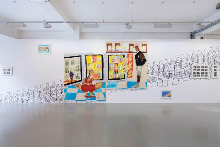 Exhibition view: Tschabalala Self, Bodega Run, Pilar Corrias, London (7 September–27 September 2017). Courtesy the artist and Pilar Corrias. Photo: Damian Griffiths.