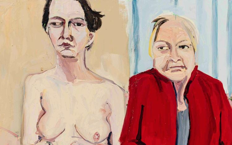 Chantal Joffe, Self-Portrait Naked with My Mother I (2020) (detail). Oil on board. 243 x 181.5 cm. © Chantal Joffe. Courtesy the artist and Victoria Miro.