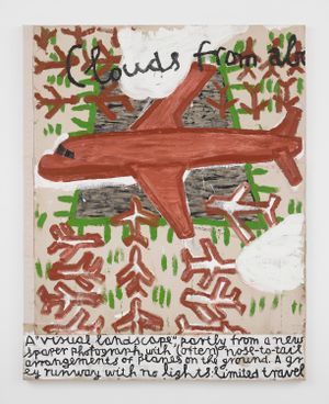 Red Plane and Runway, homage to Retablos painting by Rose Wylie contemporary artwork