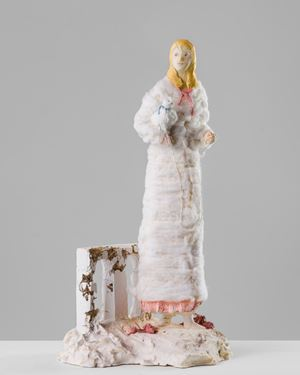 Woman with white dog by Linda Marrinon contemporary artwork sculpture