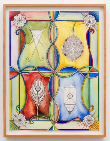 Faith Wilding, Up Rooted, 2019. Watercolour, ink, gold leaf, and graphite on paper. Framed 52.07 cm x 67.31 cm.Courtesy Anat Ebgi, Mid Wilshire/Culver City.