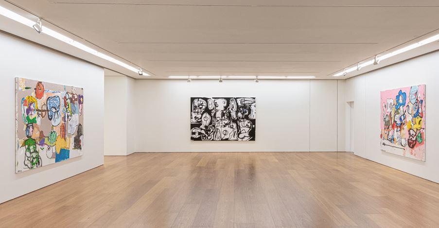 Exhibition view: Eddie Martinez, EMHK19,Perrotin, Hong Kong (17 May–29 June 2019). Photo: Ringo Cheung © Eddie Martinez; Courtesy the artist, Perrotin, and Mitchell-Innes & Nash, New York.