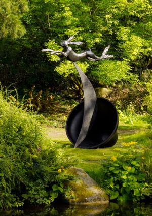 Leaping Hare on Crescent and Bell by Barry Flanagan contemporary artwork