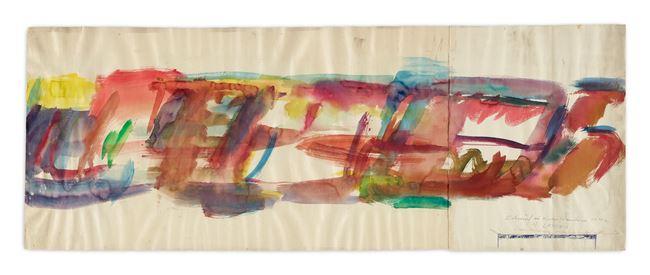 Entwurk zu einem Wandfriess,1 x 30m, in der Chirurgie, Landeskrankenhaus in Klagenfurt (Design for a wall frieze,1 x 30m, at the Surgical Ward State Hospital in Klagenfurt) by Maria Lassnig contemporary artwork