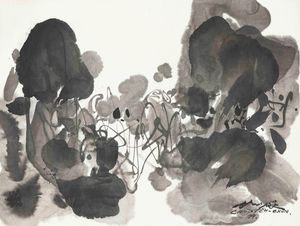 B/W Composition 2 by Chu Teh-Chun contemporary artwork painting, works on paper, drawing