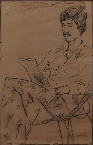 V.N. Joythi Basu,Chittrabanu(1983). Charcoal on brown paper. 91 x 58 cm.Courtesy Galerie Mirchandani + Steinruecke, Mumbai.
