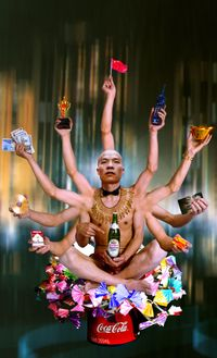 Requesting Buddha Series No.1 by Wang Qingsong contemporary artwork photography