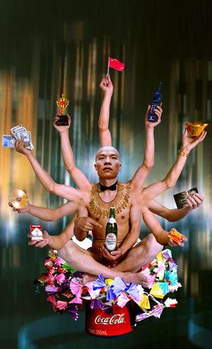 Requesting Buddha Series No.1 by Wang Qingsong contemporary artwork