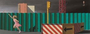 The construction fence by Jeffrey Smart contemporary artwork