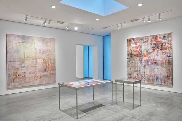 Exhibition view: Mandy El-Sayegh,MUTATIONS IN BLUE, WHITE AND RED, Lehmann Maupin, 536 West 22nd Street, New York (8 November–22 December 2018). Courtesy the artist and Lehmann Maupin, New York, Hong Kong, and Seoul.Photo: Matthew Herrmann.